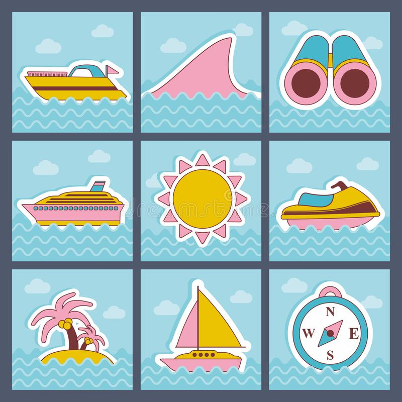 Geplaatste de zomer vlakke pictogrammen royalty-vrije illustratie