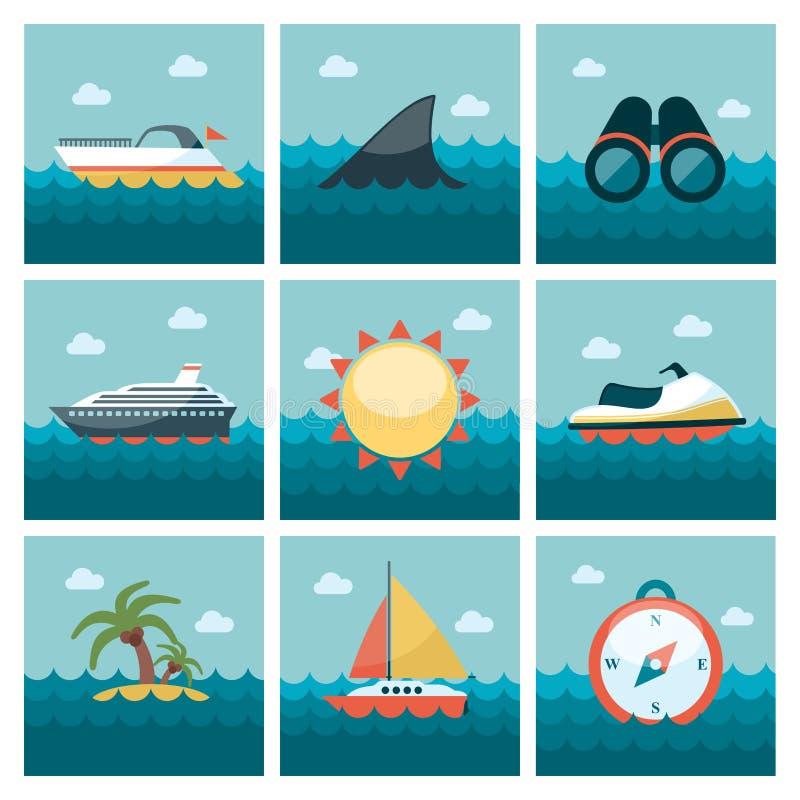 Geplaatste de zomer vlakke pictogrammen stock illustratie