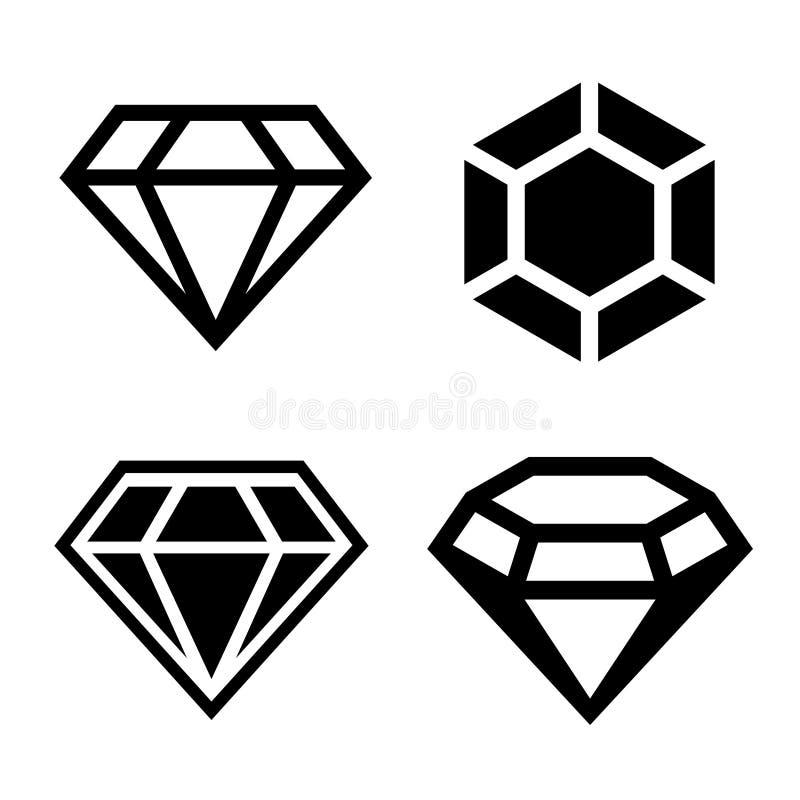 Geplaatste diamant vectorpictogrammen royalty-vrije illustratie