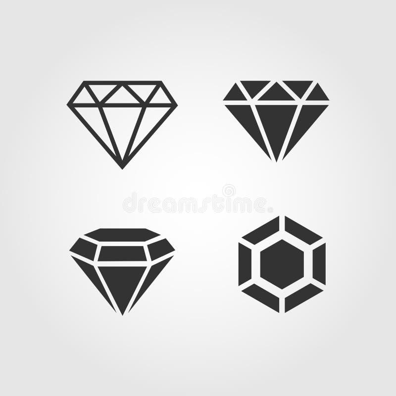 Geplaatste diamantpictogrammen, vlak ontwerp royalty-vrije illustratie