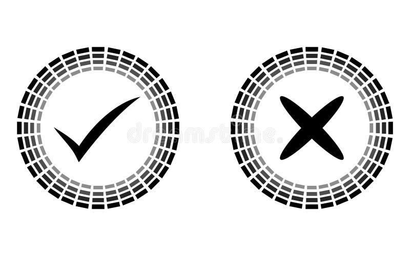 Geplaatste die pictogrammen van het controle de ronde teken, zwarte op witte achtergrond, ja Geen vectorillustratie wordt geïsole vector illustratie