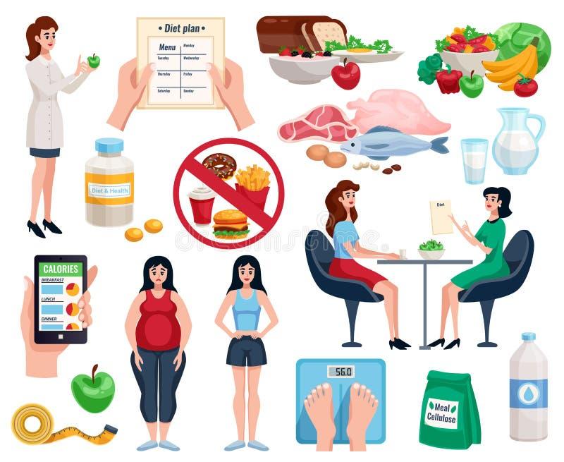 Geplaatste dieet Decoratieve Pictogrammen stock illustratie