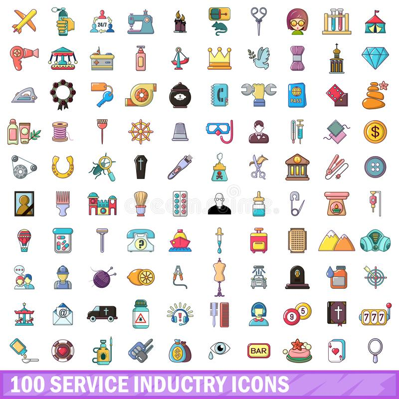 Download 100 Geplaatste Dienstenindustriepictogrammen, Beeldverhaalstijl Vector Illustratie - Illustratie bestaande uit dalingen, machine: 107707481