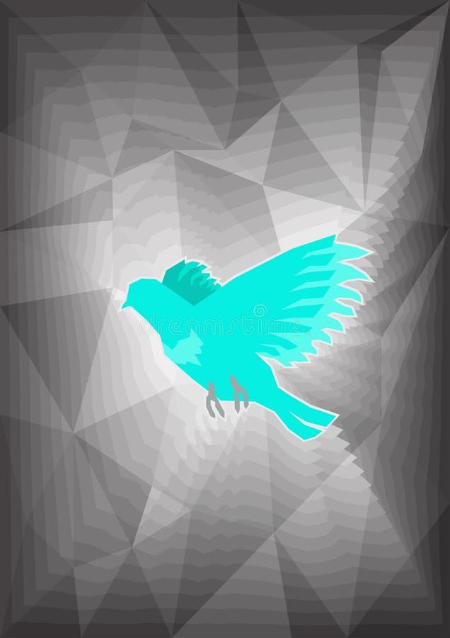 Geplaatste dieren blauw vogelmengsel op geometrische achtergrond royalty-vrije stock afbeeldingen
