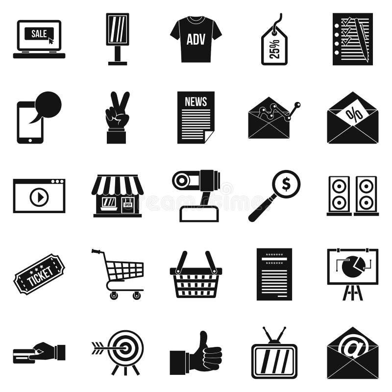 Geplaatste digitaal tijdperkpictogrammen, eenvoudige stijl stock illustratie