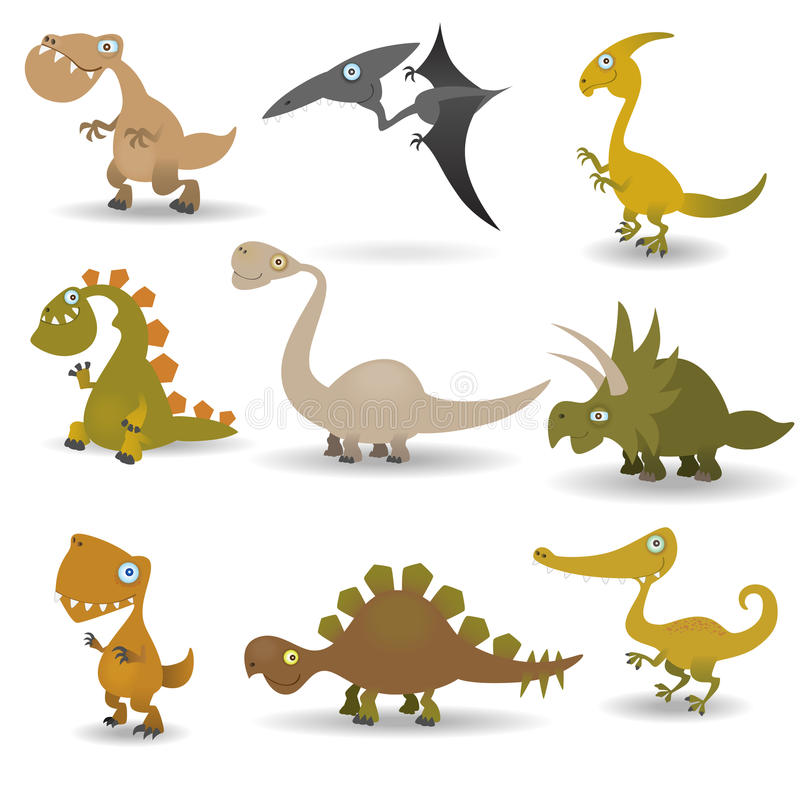 Geplaatste dinosaurussen vector illustratie