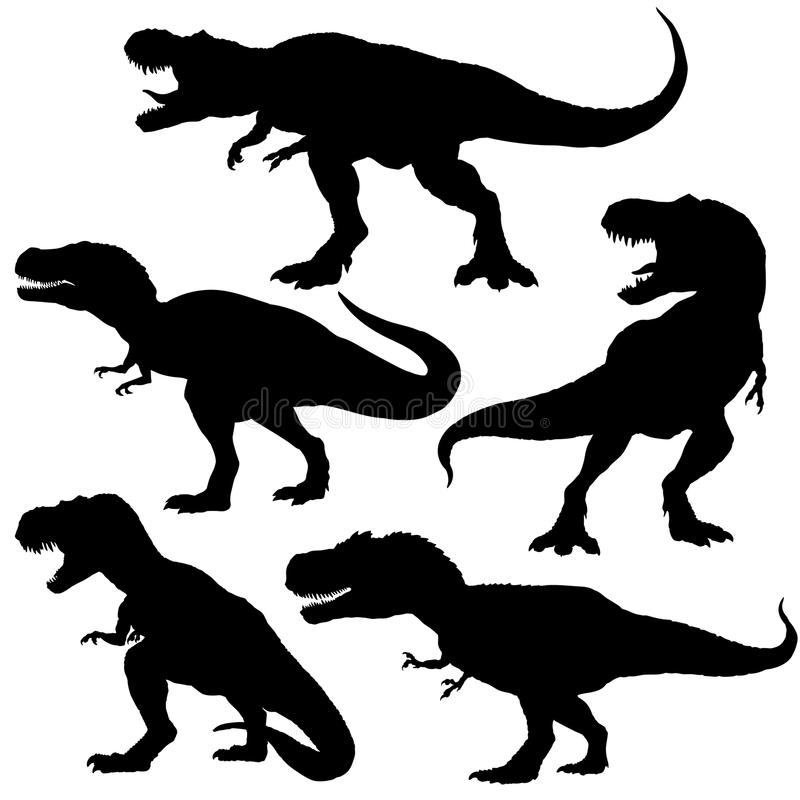 Geplaatste dinosaurust -t-rex silhouetten Vector illustratie die op witte achtergrond wordt geïsoleerdd stock foto's