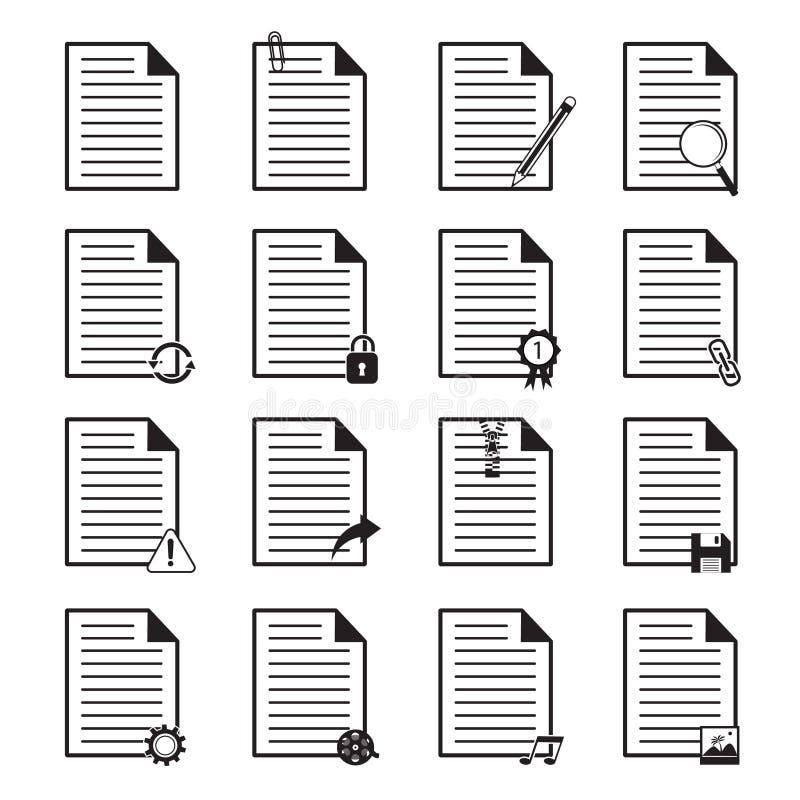 Geplaatste documentpictogrammen vector illustratie