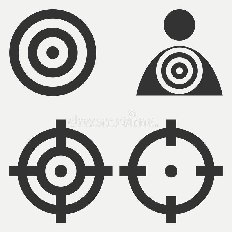 Geplaatste doelpictogrammen Doelontwerp op witte achtergrond Vector stock illustratie