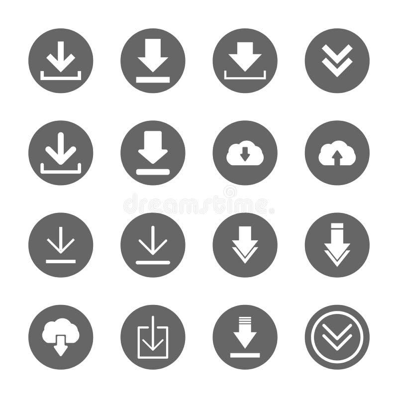 Geplaatste downloadpictogrammen stock illustratie
