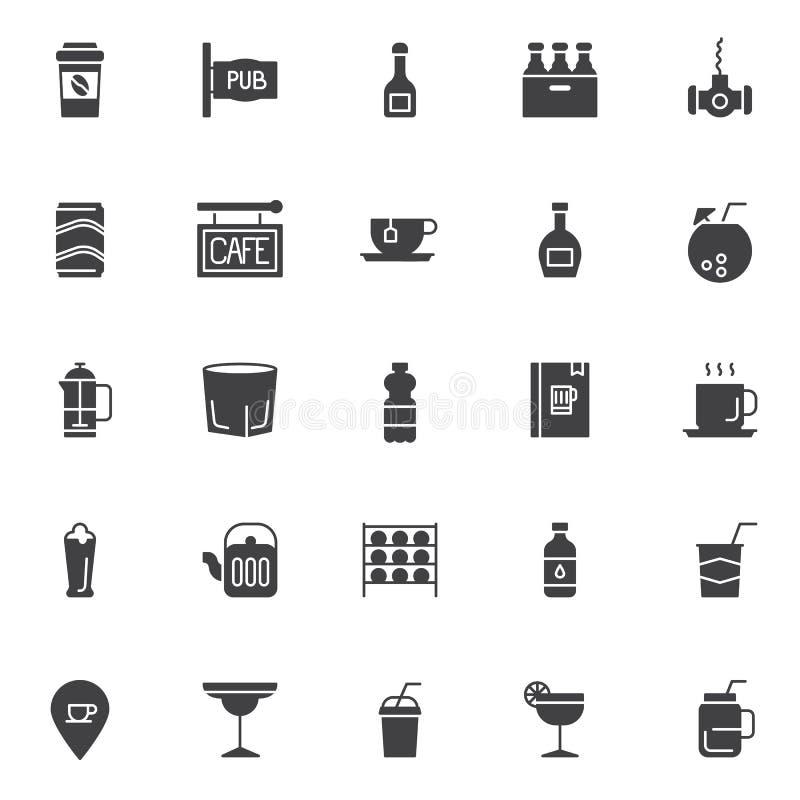 Geplaatste dranken vectorpictogrammen royalty-vrije illustratie