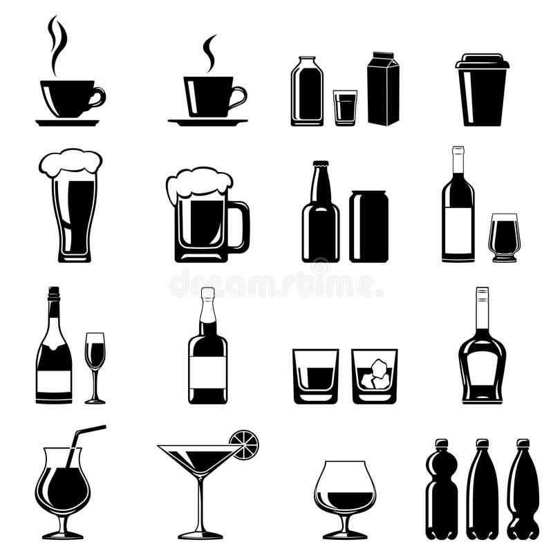 geplaatste drankenpictogrammen stock illustratie