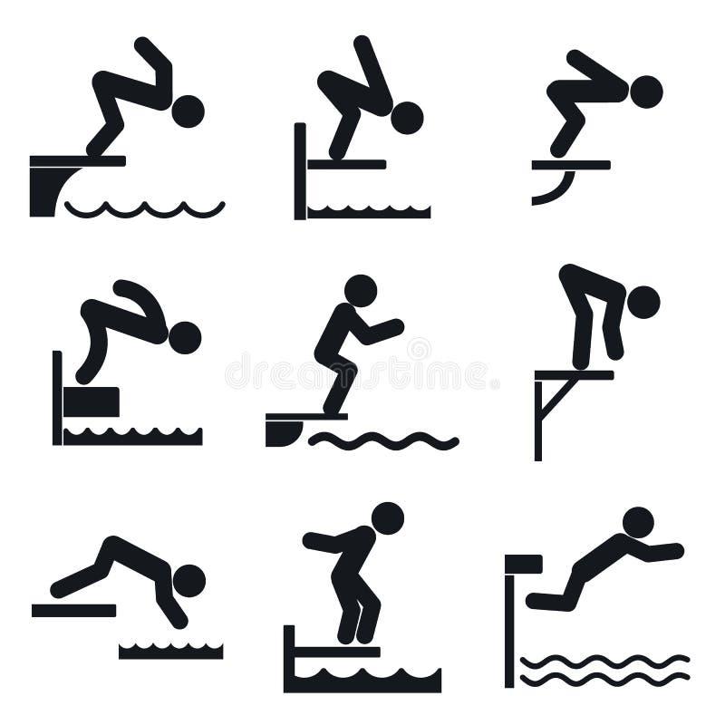 Geplaatste duikplankpictogrammen, eenvoudige stijl vector illustratie