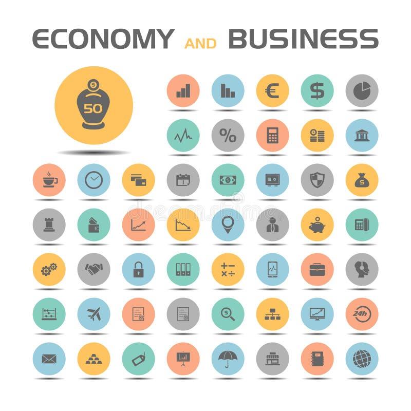 Geplaatste economie en bedrijfspictogrammen stock illustratie