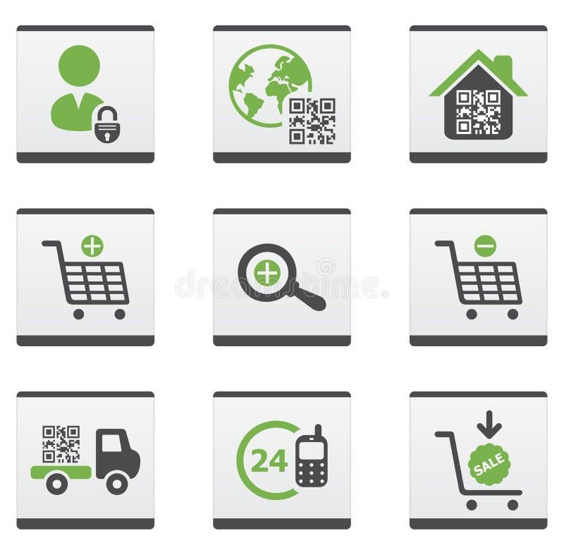 Geplaatste elektronische handelpictogrammen royalty-vrije illustratie