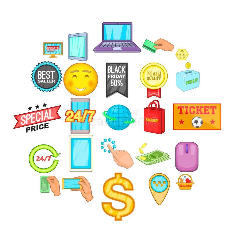 Geplaatste elektronische handelpictogrammen, beeldverhaalstijl vector illustratie