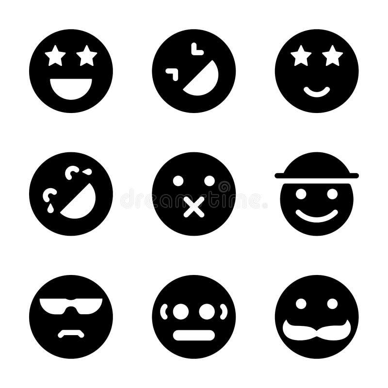 Geplaatste Emoticonspictogrammen vector illustratie