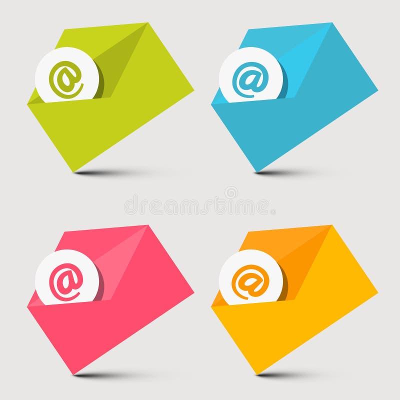 Geplaatste envelope-mail Vectorpictogrammen stock illustratie