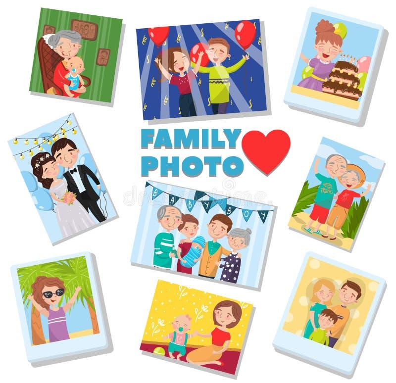 Geplaatste familiefoto's, portretten van familieleden, beste geheugen op beelden van verscheidene generaties vectorillustratie vector illustratie