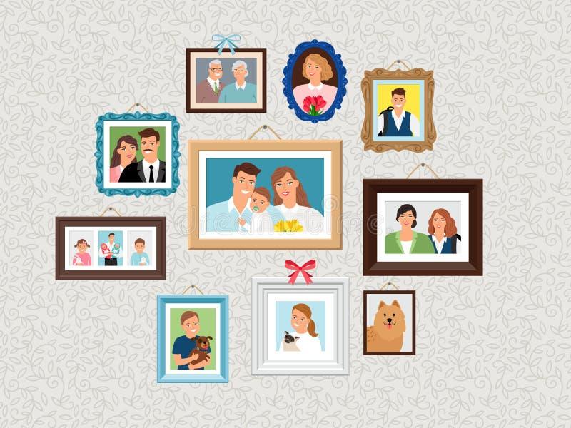 Geplaatste familiekaders De beelden van het mensenportret, gezichten photoportraits op muur met jonge geitjes en hond, vrouw en g royalty-vrije illustratie