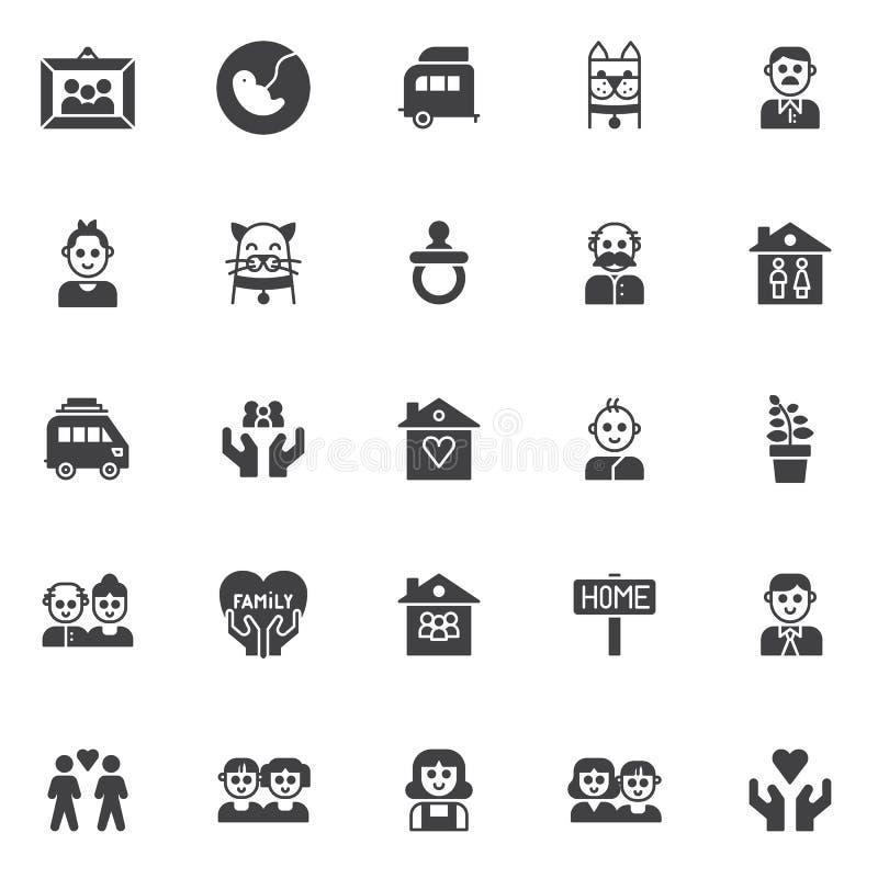 Geplaatste familieleden vectorpictogrammen stock illustratie