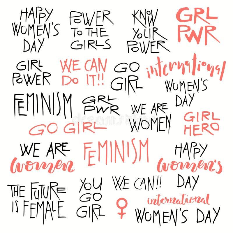 Geplaatste feminismecitaten vector illustratie