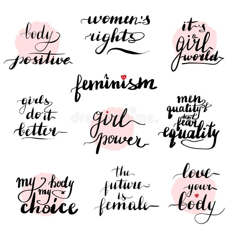 Geplaatste feminismecitaten Met de hand geschreven modern stock illustratie