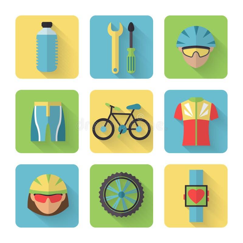 Geplaatste fiets Vlakke Pictogrammen royalty-vrije illustratie