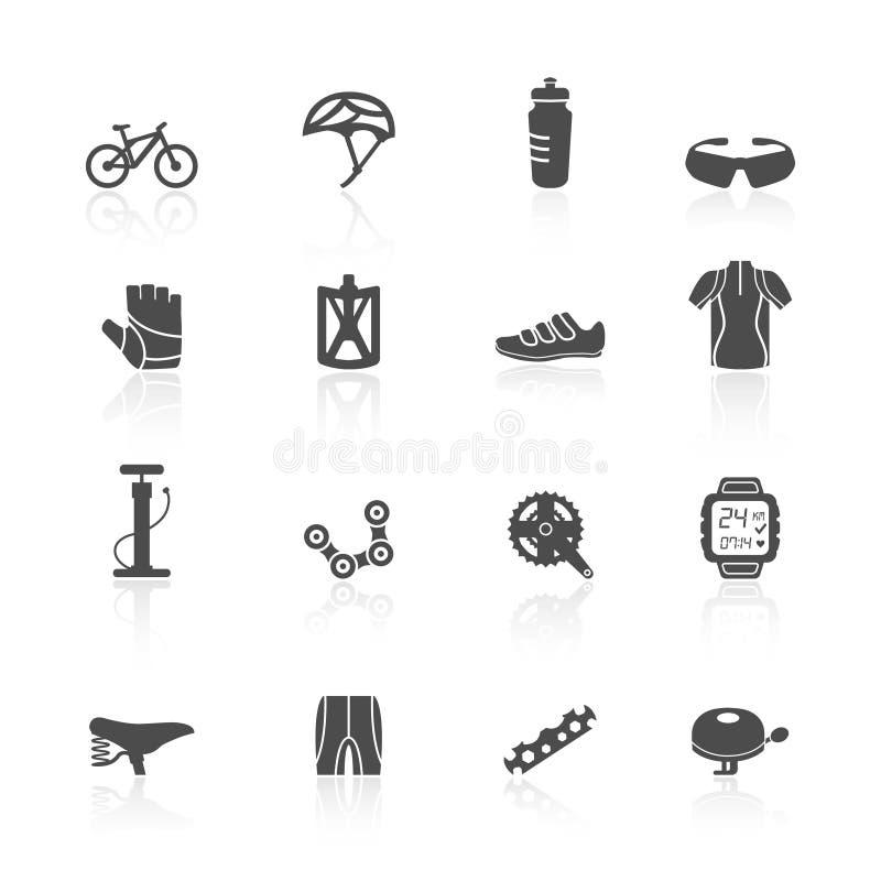 Geplaatste fietspictogrammen stock illustratie