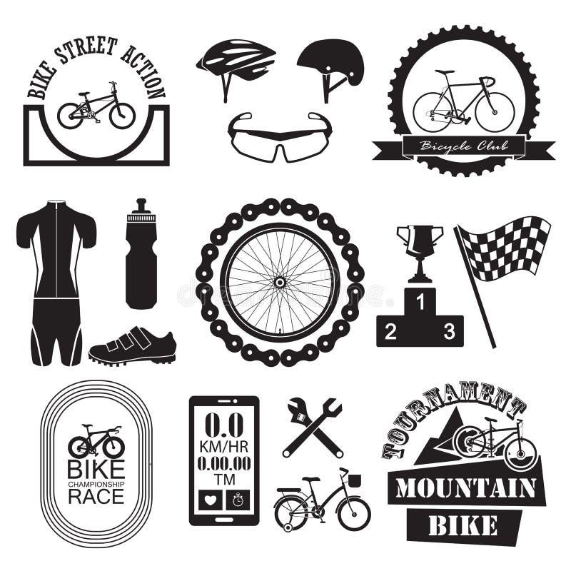 Geplaatste fietspictogrammen vector illustratie