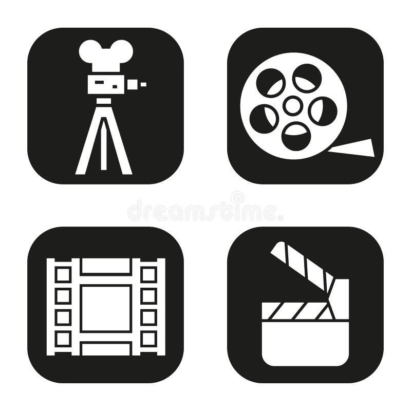 Geplaatste filmpictogrammen Filmcamera, video, spoel, film clapperboard symbool royalty-vrije illustratie
