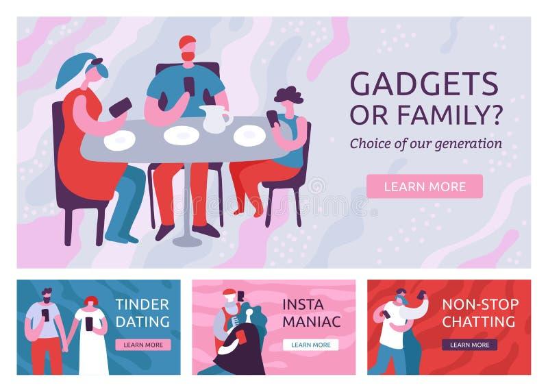 Geplaatste gadgets Afhankelijke Banners royalty-vrije illustratie