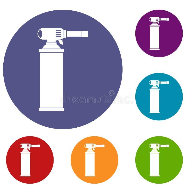 Geplaatste gasflespictogrammen stock illustratie