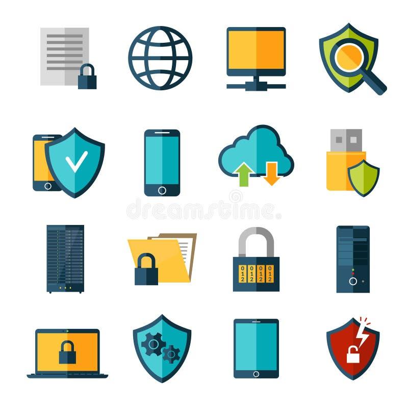 Geplaatste gegevensbeschermingpictogrammen stock illustratie
