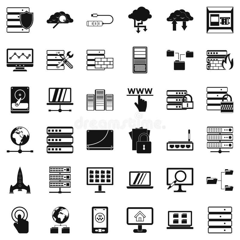 Geplaatste gegevensbestandpictogrammen, eenvoudige stijl vector illustratie