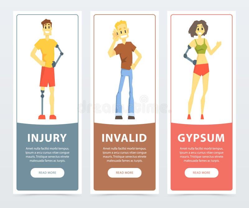 Geplaatste gehandicaptenbanners, dove man, vrouw en man met kunstmatige lidmaten, verwonding, ongeldig, gips vlakke vector royalty-vrije illustratie