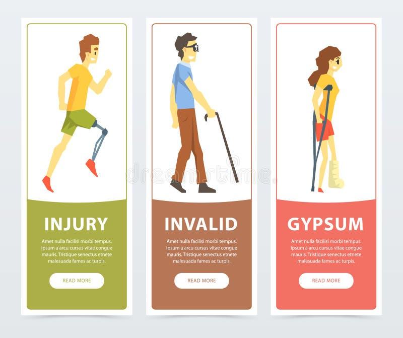Geplaatste gehandicaptenbanners, man met prothetisch been, blinde, vrouw op steunpilaren met gebroken been, ongeldige verwonding, royalty-vrije illustratie