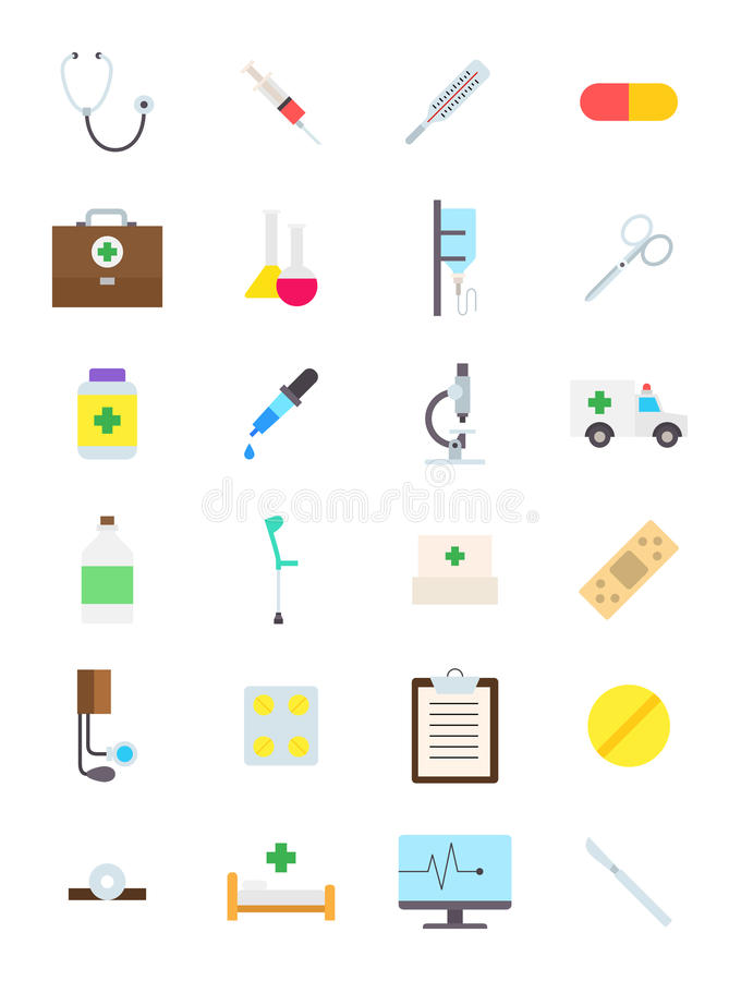 Geplaatste geneeskundepictogrammen stock illustratie