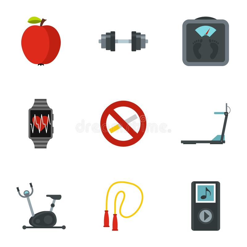 Geplaatste geschiktheid, dieet en gezonde het leven pictogrammen royalty-vrije illustratie