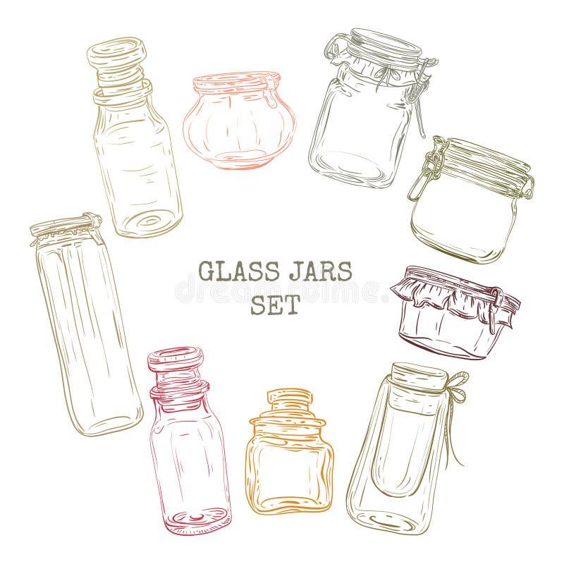 Geplaatste glaskruiken Uitstekende hand getrokken vector stock illustratie