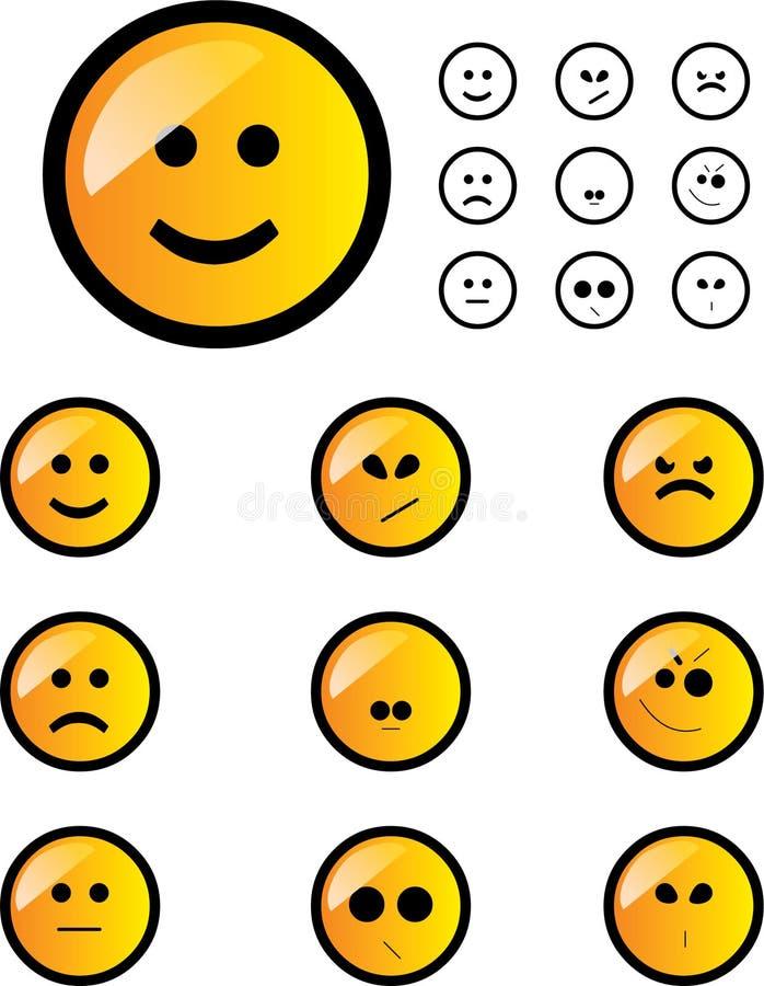 Geplaatste glimlachen vector illustratie