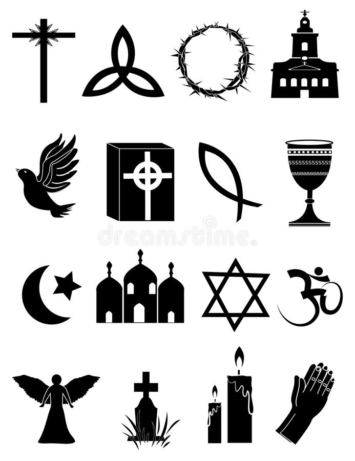 Geplaatste godsdienstpictogrammen stock illustratie