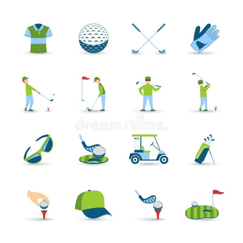 Geplaatste golfpictogrammen stock illustratie