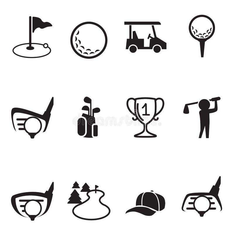Geplaatste golfpictogrammen royalty-vrije illustratie