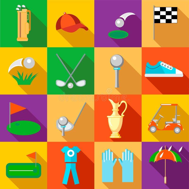 Geplaatste golfpictogrammen, vlakke stijl vector illustratie