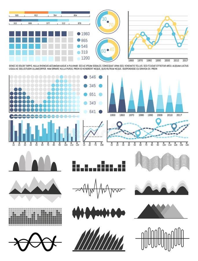 Geplaatste grafiek en Stroomschema's, Regelingen en Grafieken vector illustratie