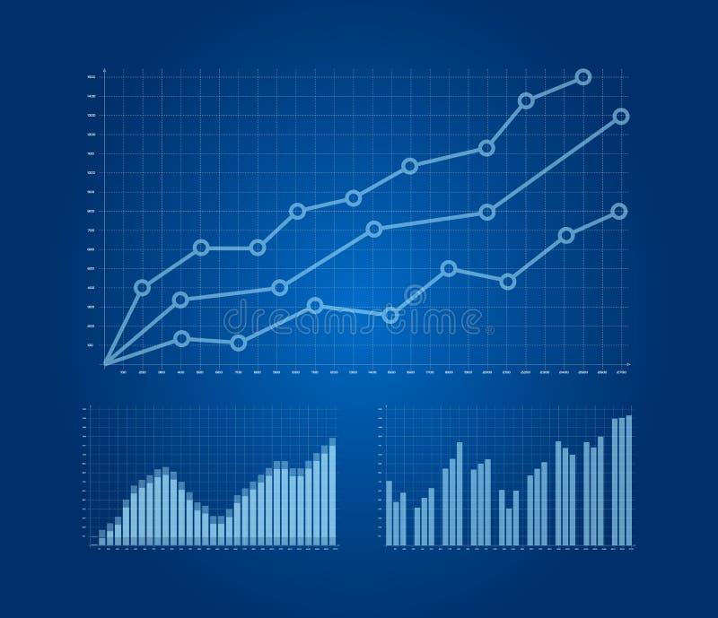 Geplaatste grafieken en grafieken vector illustratie
