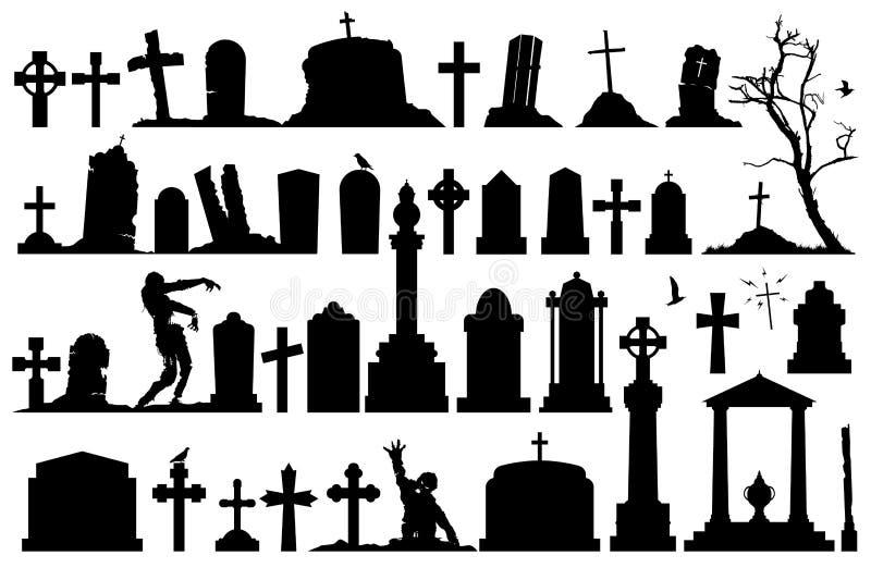 Geplaatste grafzerken en grafstenen stock illustratie