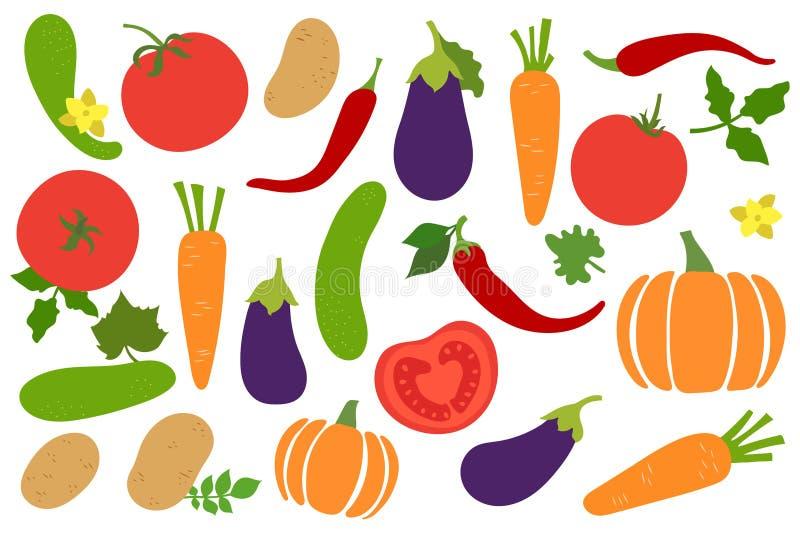 Geplaatste groenten Aardappel, komkommer, tomaat, peper, Spaanse peper, wortel, pompoen en aubergine paprika Hand getrokken krabb royalty-vrije illustratie
