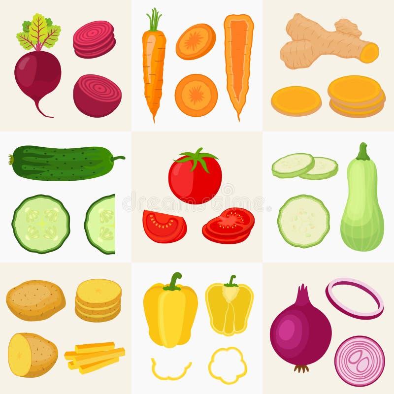 Geplaatste groenten Komkommer, tomaat, aardappel en anderen vector illustratie